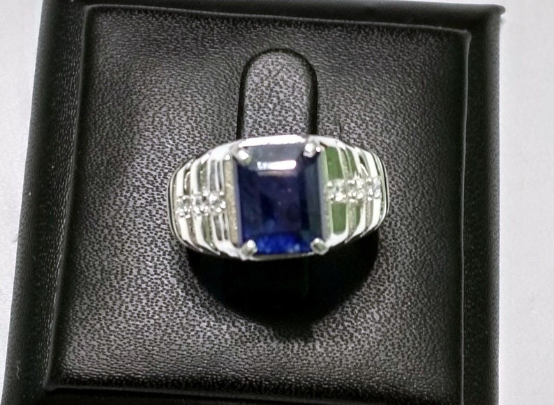 Precious Gemstone Rings September Birthstone Ring,Select Size 925 Sterling Silver Natural Blue Sapphire /& CZ Rings