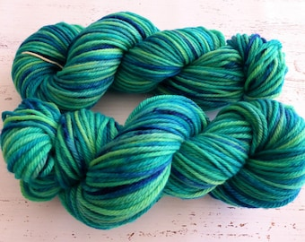 Hand dyed yarn, Australian wool, Aran 10 ply worsted, 100g, Cache, green, blue, Yorkshire