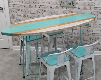 Beachy bar surfboard 5 foot table and four chairs stools Hawaiian art /surfers art/  hairpin legs / mid century modern /modern art