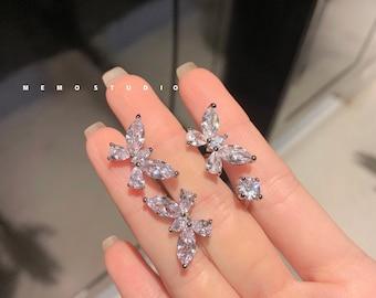 Double Butterfly Ring, Shiny Diamond, Multi Stone, Open Ring, Platinum, Zircon