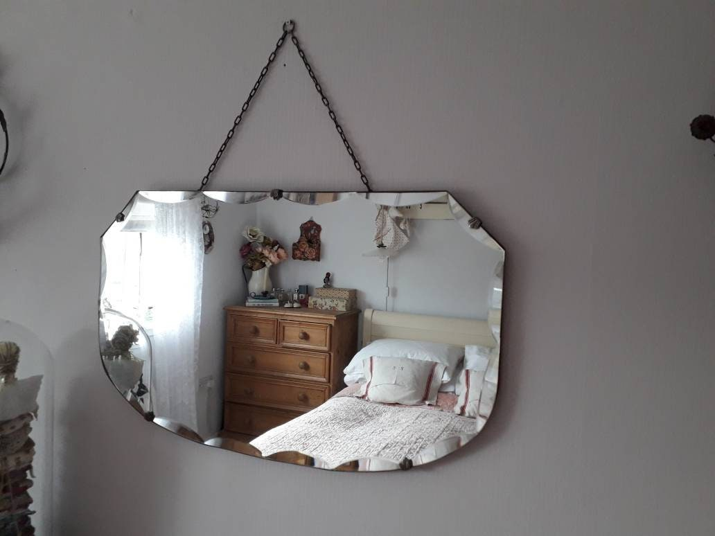 Large 1930s Shield Shaped Frameless Mirror With Faceted Glass Edge And Decorative Hanging Chain Decor Bedroom Living Bathroom
