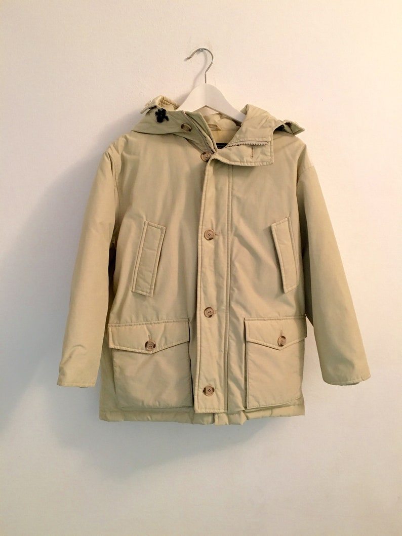 size 40 3b965 18da5 Woolrich Parka Coat Jacket Fur Hood Cream Retro Winter 10YEARS