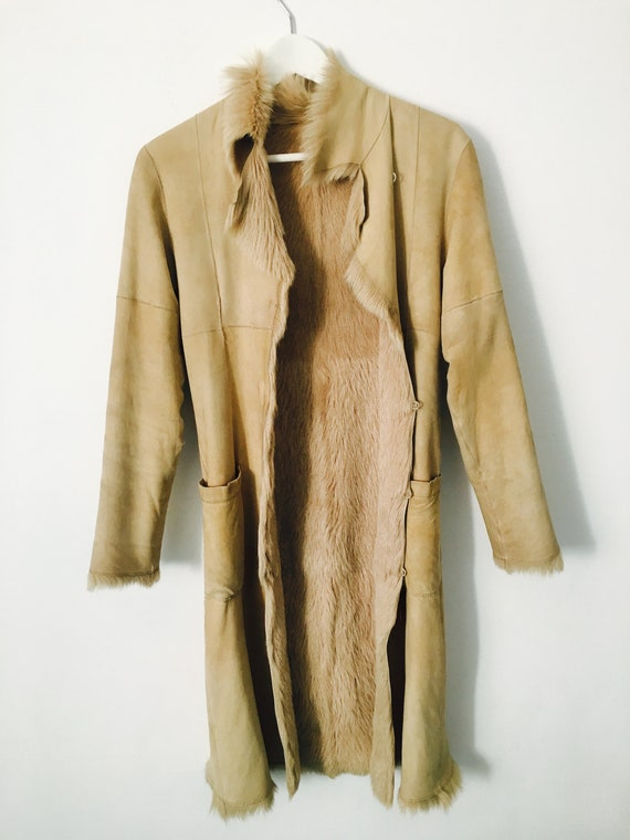 Gorgeous STEFANEL Leather coat with faux mutton