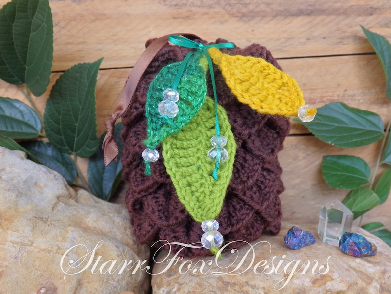Handmade Crochet Cosplay Accessory Fairy Pinecone Pouch Bag Elf or Woodland Costume Accent