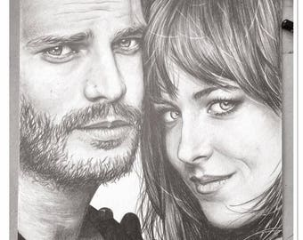 "the ""50 shades darker"" graphite pencil portrait"