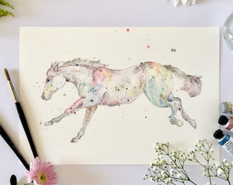 Colourful horse painting, ORIGINAL watercolour and pen painting, unique style, horse lover gifts, horse art, whimsical art, colorful, equine