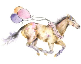 Horse Birthday Card Watercolour Art For Lovers Gifts Happy Bay