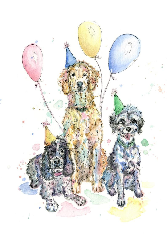 Hund Geburtstag Kunst Cocker Spaniel Geburtstag Golden Etsy