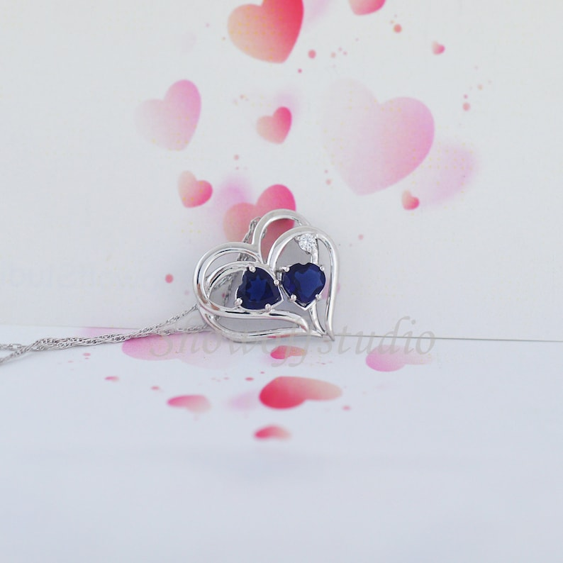 Personalized Birthstone Double Heart Pendant Two-Stone Heart Necklace Pendant Sterling Silver Mother/'s day Gift For Her Sapphire Pendant