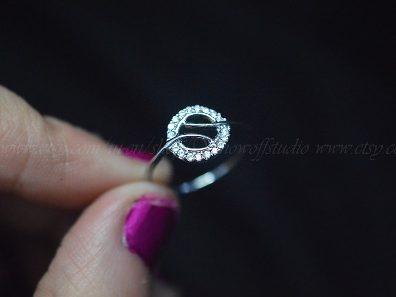 Minimalist Ring Stackable Rings Gold Ring Open Circle Diamond Ring Sterling Silver Ring Dainty Ring Geometric Diamond Ring Karma Ring