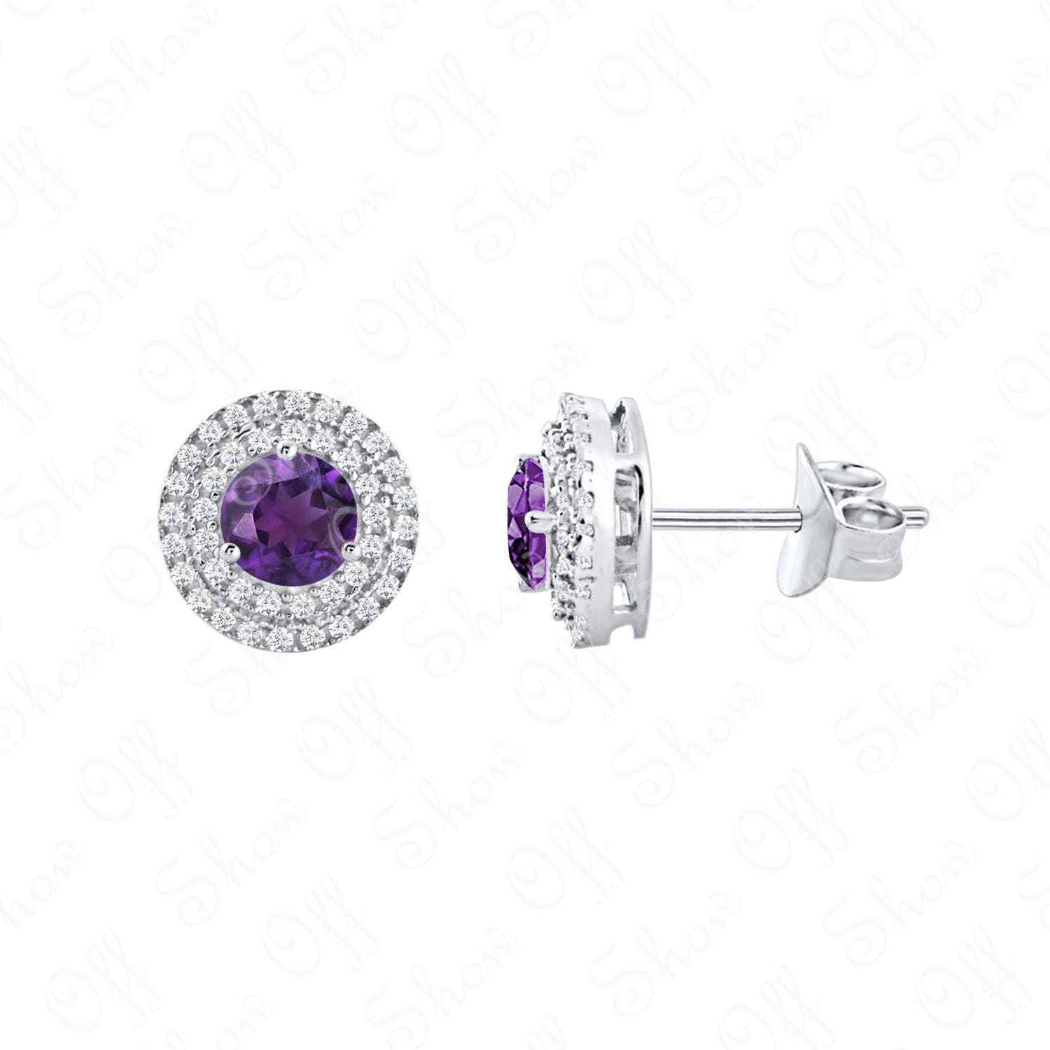 HALO ROUND STUD EARRINGS 14K WHITE GOLD FN 925 STERLING SILVER CHRISTMAS GIFT CZ