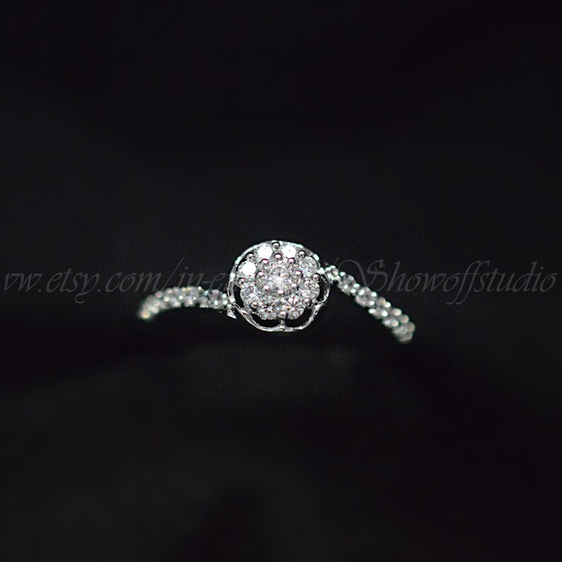 14k White Gold Over Spiral Cluster Round Cut Diamond Engagement Ring For Womens
