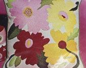 BOLD GARDEN Vintage Crewel Pillow Kit Retro Mid Century Barnes Blake Linen Fabric