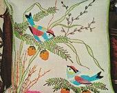 LOVE BIRDS Crewel Embroidery Kit 16 quot Knife Edge Pillow Top Linen Wool Yarn