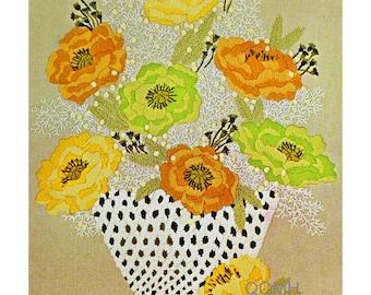 BREATH OF SPRING Vintage Crewel Kit White Colorful Basket of Flowers Large Size
