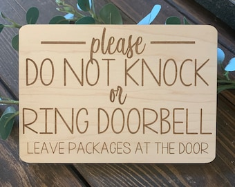 Please Do Not Knock or Ring Doorbell Sleeping Baby and Protective Dog Leave packages on porch hanging door sign custom sign