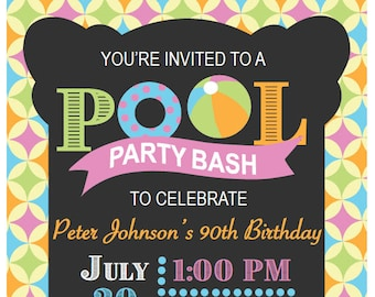 Pool Party Invitation, 5x7
