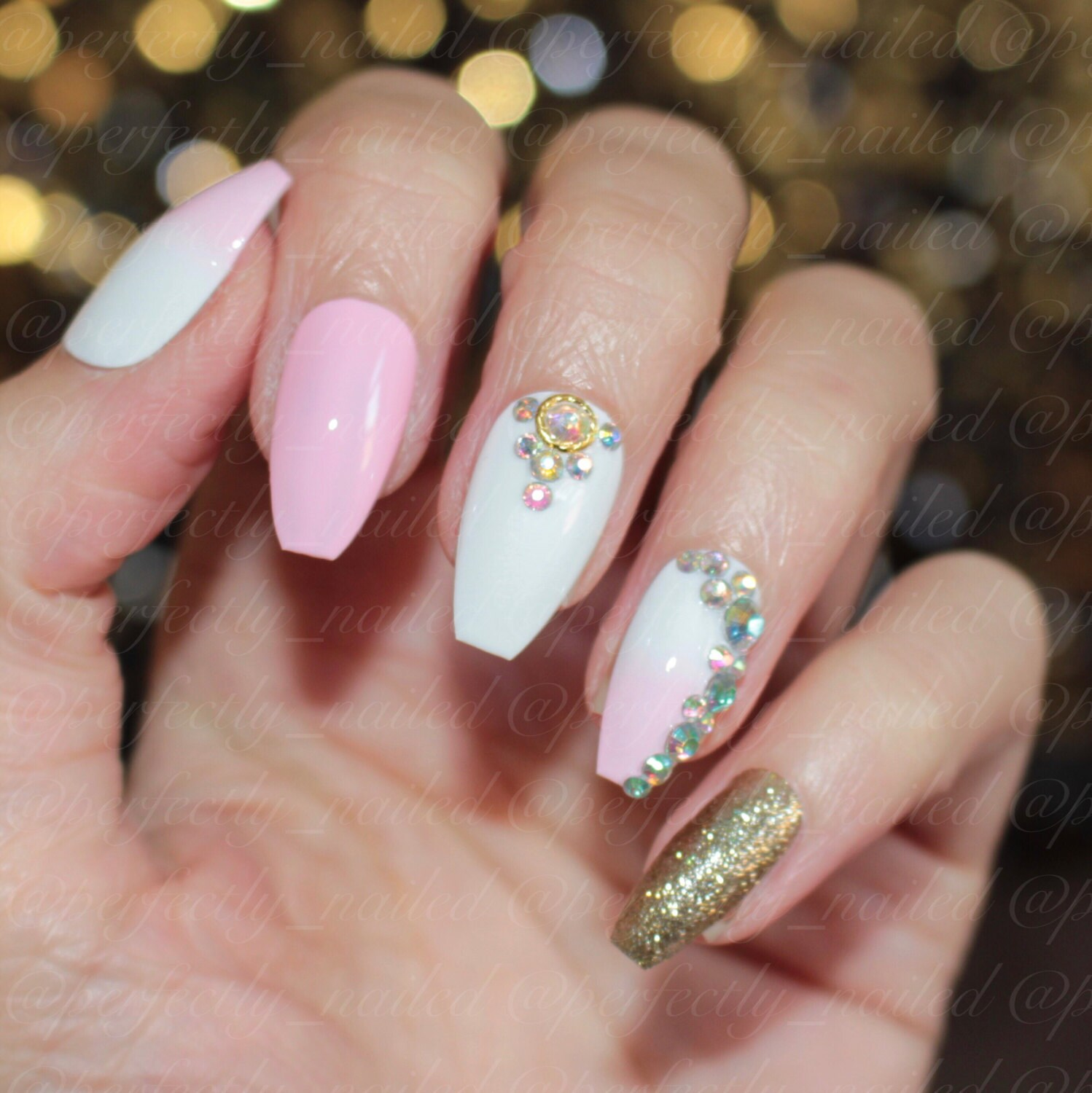 Baby pink white and gold glitter nails with crystals • Handpainted ...