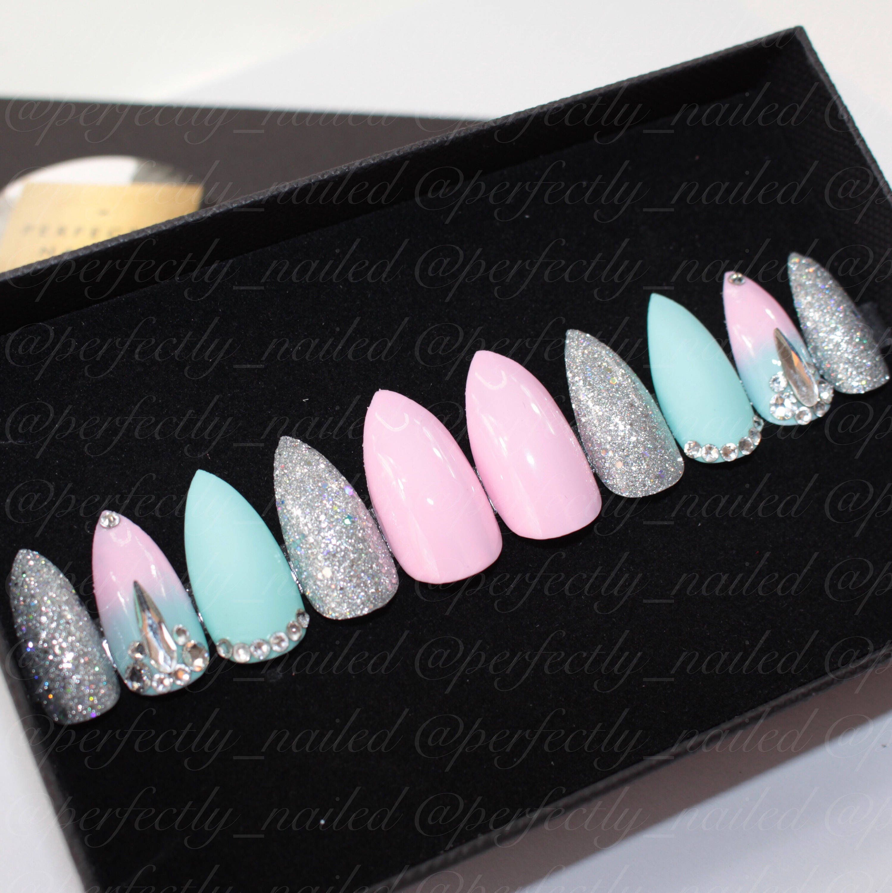 Pastel pink and green ombre nails with holographic and sugar effect ...