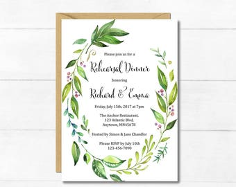 Botanical Rehearsal Dinner Invitation, Printable Greenery Rehearsal Dinner Invite, Foliage Wreath DIY Rehearsal Dinner Invite Download 105-A