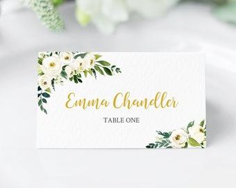 White Green Gold Floral Editable Place Cards, Boho Place Card Template, Name Cards Escort Cards DIY Template Instant Download Templett 117-W