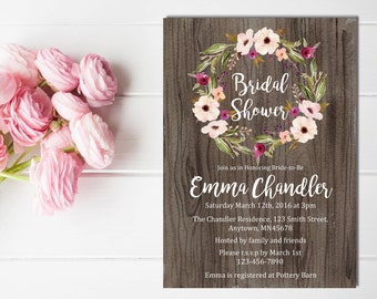 Floral Wreath Boho Bridal Shower Invitation, Printable Boho Bridal Shower Invite, Rustic Bridal Shower Invite, Wedding, Download, 108-A