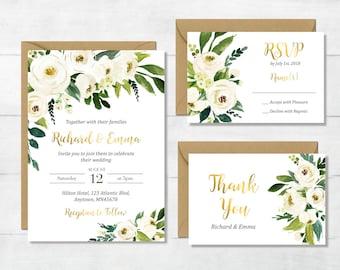 White Gold Green Floral Printable Wedding Invitation Suite, Boho Wedding Invite Floral Wedding Invite Greenery Wedding Invite Download 117-W