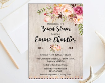 Boho Tribal Bridal Shower Invitation, Printable Floral Boho Bridal Shower Invite, Rustic Boho Bridal Shower Invite, Arrows, Download, 109-A