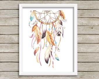 Girl Dreamcatcher Wall Art, Tribal Nursery Art, Boho Wall Art, Girl Nursery Art, Tribal Decor, Dreamcatcher Printable Art, Instant Download
