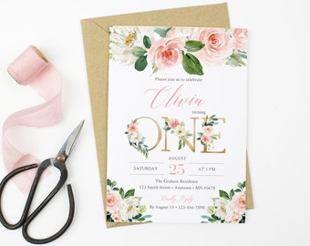 Pink Gold Floral First Birthday Editable Invitation Printable Blush Invite Template 1st Instant Download 016 W