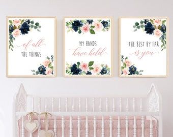Navy Blush Floral Of All The Things My Hands Have Held Printable Nursery Art, Girls Nursery Quote, Wall Art, Set of 3 Instant Download 623-A