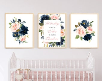 Navy Blush Floral Let Her Sleep She Will Move Mountains Printable Nursery Art, Girls Nursery Quote Wall Art, Set of 3 Instant Download 623-A