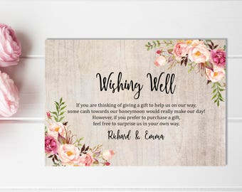rustic boho wishing well printable card floral wedding wishing well insert rustic honeymoon wish bridal shower wishing well download 110 a