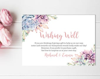succulent wishing well printable card floral wedding wishing well insert boho honeymoon wish bridal shower wishing well download 128 w