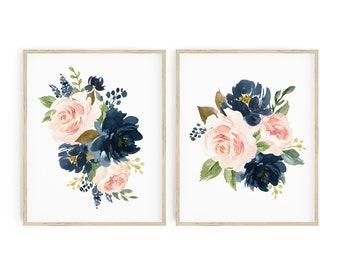 Navy Blush Pink Floral Printable Nursery Art, Boho Girls Nursery Decor, Floral Wall Art, Flower Nursery Art, Set of 2 Instant Download 623-A