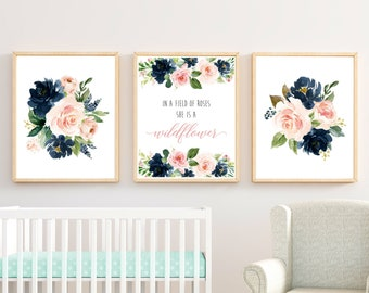 Navy Blush Floral In a Field of Roses She is a Wildflower Printable Nursery Art Girls Nursery Quote Wall Art Set of 3 Instant Download 623-A