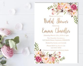 76ba4661ef8 Rose Gold Boho Floral Bridal Shower Invitation