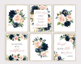 Blush Pink Navy Floral Nursery Wall Art, Printable Move Mountains Art, She is a Wildflower, She is Fierce, Set of 6 Instant Download 623-A
