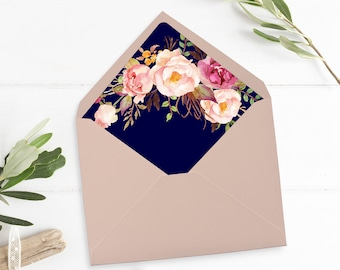 Navy Boho Floral Envelope Liner, Printable Pink Navy Floral Envelope Liner, Watercolor Peonies Envelope Liner Instant Download 110-N 110-NG