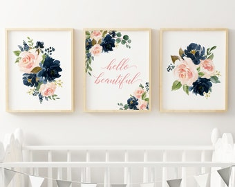 Navy Blush Floral Hello Beautiful Printable Nursery Art, Girls Nursery Quote Wall Art Pink Floral Typography Set of 3 Instant Download 623-A