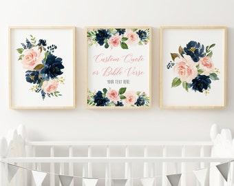 Navy Blush Floral Custom Text Nursery Art, Printable Pink Blue Custom Bible Verse Scripture Art Print, Boho Art, Set of 3, Download 623-A