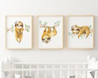 Printable art You are so loved Tribal nursery sloth and fox Set of three prints Nursery wall art decor Gallery wall set HEART OF LIFE Design