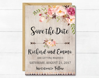 floral save the date etsy