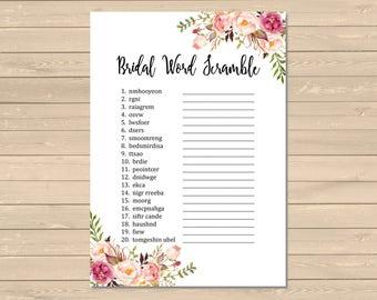 printable boho bridal shower word scramble game boho floral word scramble activity boho bridal shower diy game instant download 110 w