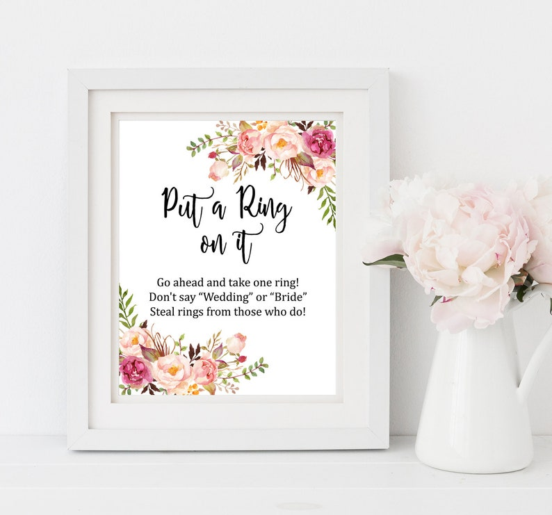 photograph regarding Put a Ring on It Bridal Shower Game Free Printable named Boho Place a Ring upon It Bridal Shower Match, Printable Purple Floral Dont Say Match, Boho Dont Say Bride Shower Do-it-yourself Activity Immediate Obtain, 110-W