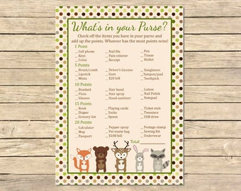 Woodland Animals What's in your Purse Printable Game, Forest Animal Purse Activity, Woodland Animals Shower, DIY Instant Download, 003-A