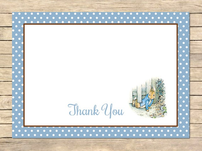 Peter Rabbit Thank You Card Beatrix Potter Thank You Card Flat