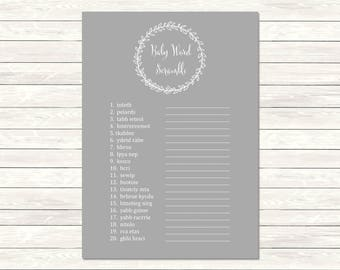 Gray Monogram Printable Baby Word Scramble Game, Laurel Wreath Word Scramble Activity, Gray Monogram Game, DIY Game, Instant Download, 029-G