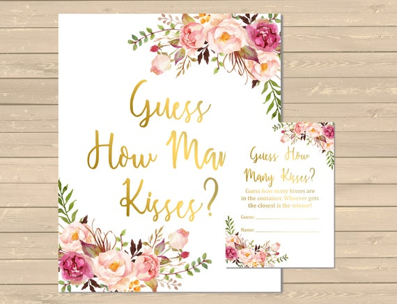 Gold Boho Floral Guess How Many Kisses Game, Pink Floral Printable