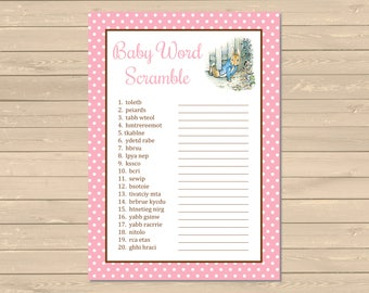 Pink Peter Rabbit Baby Word Scramble Printable Game, Beatrix Potter Word Scramble Activity, Peter Rabbit Shower Game, Instant Download 014-B